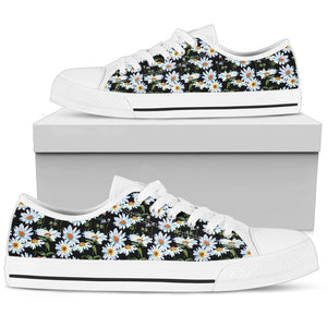 Hippie Boho Daisy Flower Low Top Shoes WOMEN - BLACK - Wonder Hippie Official