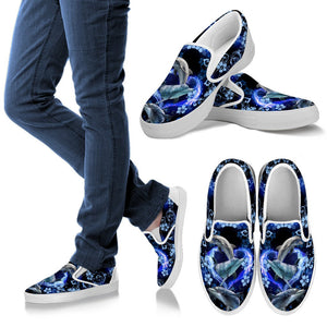 Amazing Dolphin Flower Women Slip On Black - Wonder Hippie Official