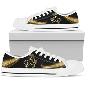 women Zodiac Aries Low Top Shoes - black - Wonder Hippie Official