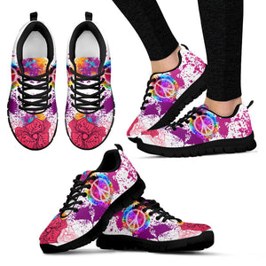 Rose Purple Hippie Peace Sign Sneaker - Wonder Hippie Official