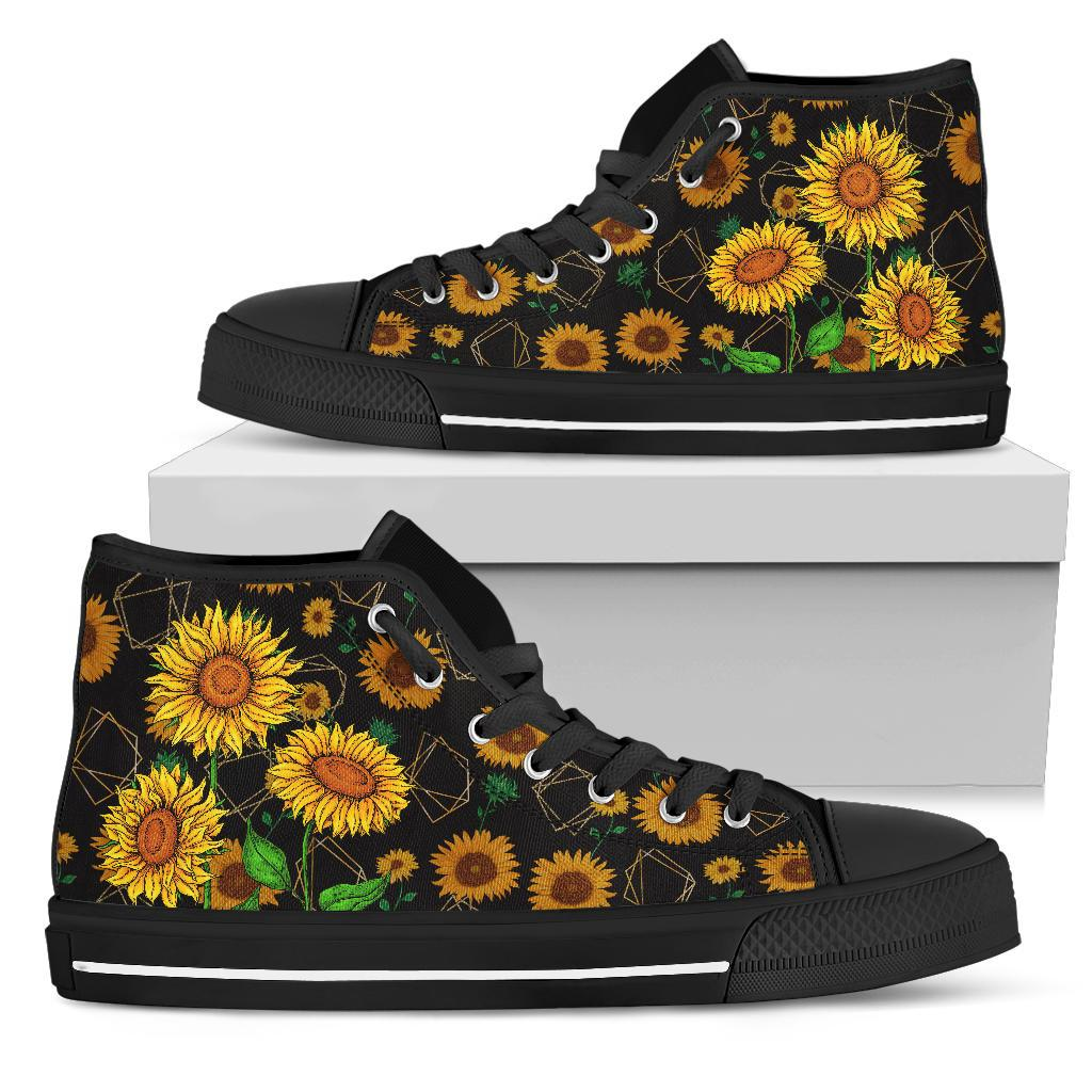 Sunflower Pattern Cool High Top Shoes Black - Wonder Hippie Official