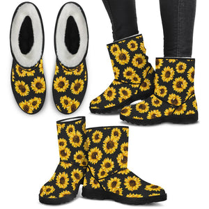 Sunflower Pattern Faux Fur Boots - Wonder Hippie Official