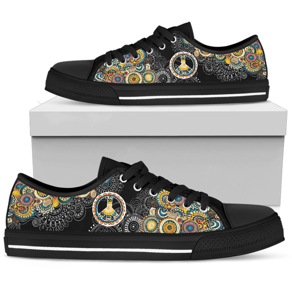 Peace Sign Color Boho Mandala Low Top Shoes - Wonder Hippie Official