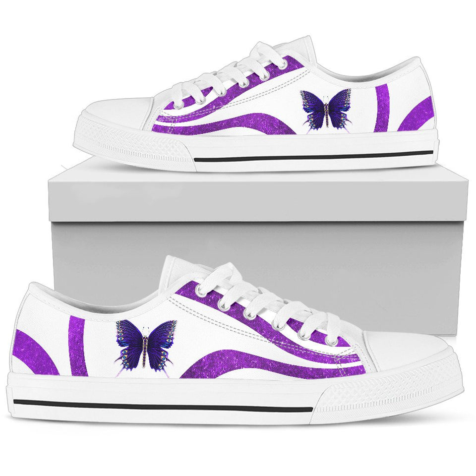 Purple Butterfly Low Top Shoes - Wonder Hippie Official
