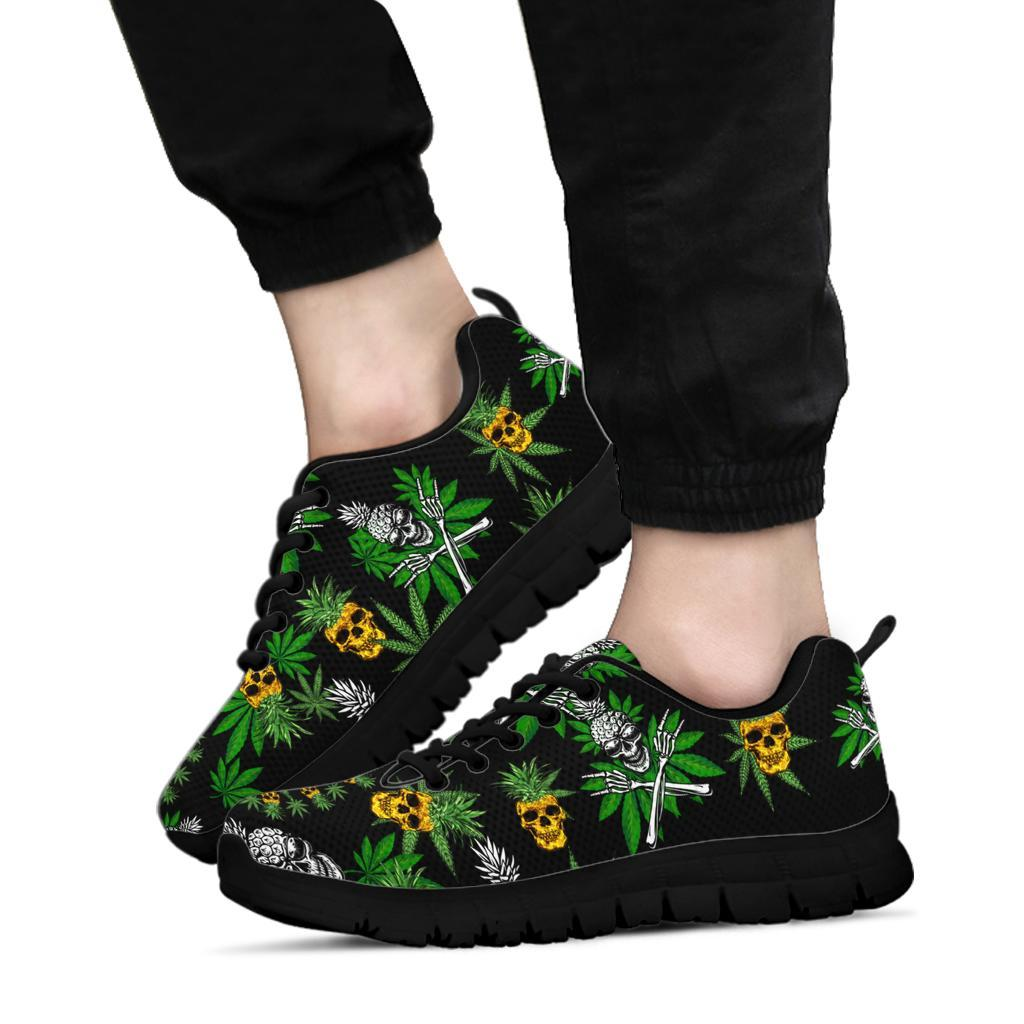 Pineapple Cannabis Skull Skeleton Sneaker Black - Wonder Hippie Official