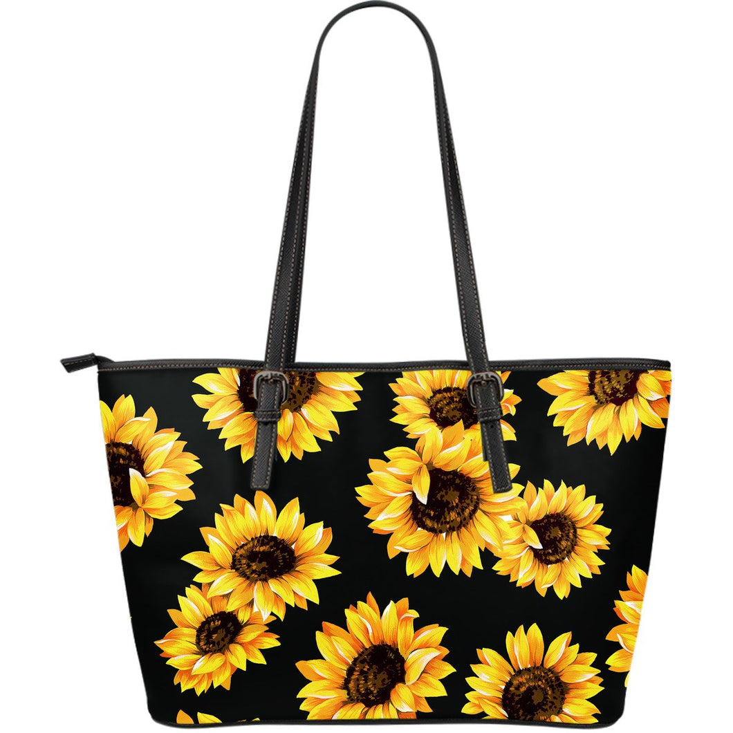 Sunflower Pattern Totes Large Leather - Wonder Hippie Official