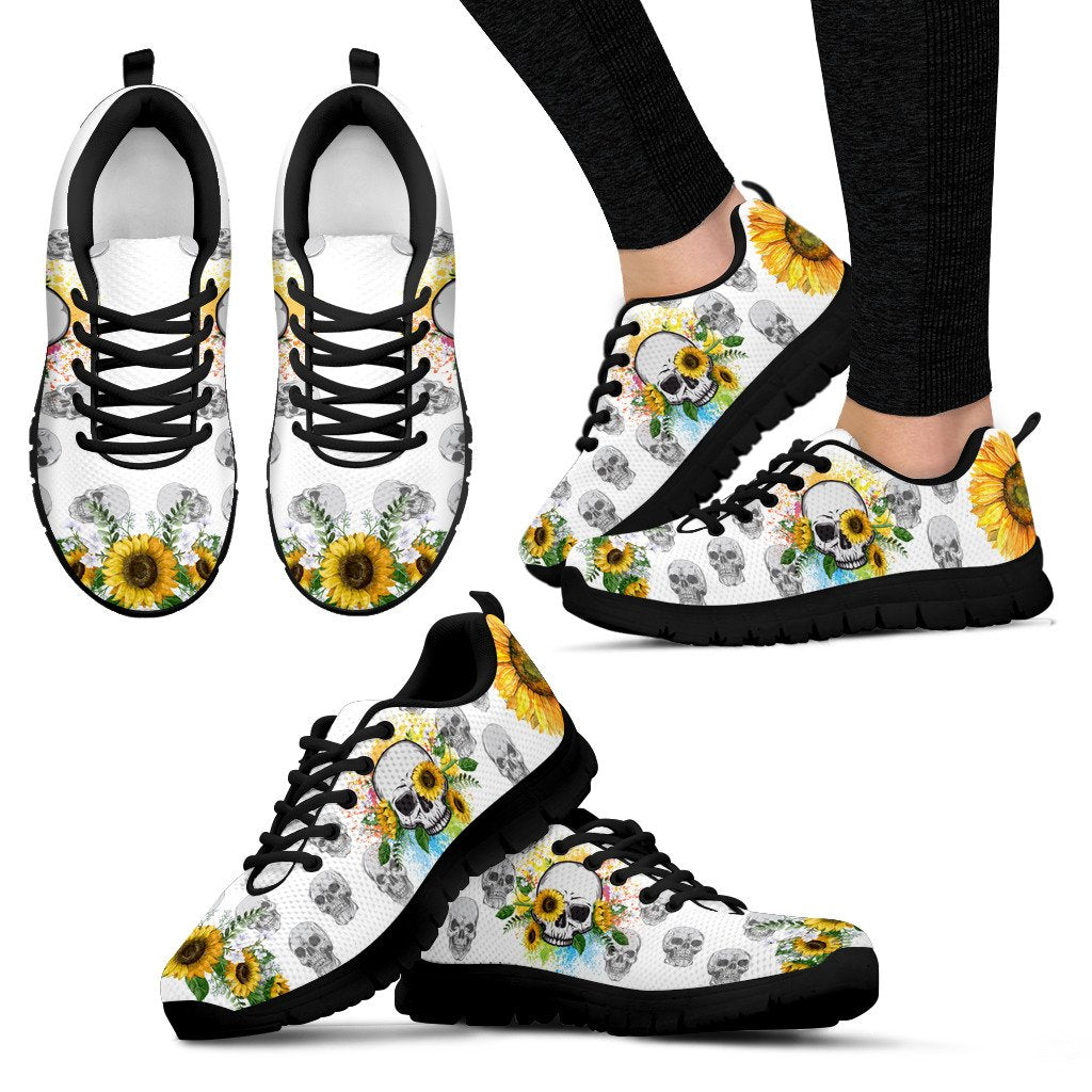 White Skull Skeleton Sunflower Sunshine Sneaker WM -BLACK - Wonder Hippie Official
