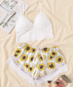 Sexy Sunflowers White Lace Combo Crop Top & Short Body Suit Sleepwear