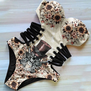 Sunflower Skull Gun Pattern One Piece Swimsuit