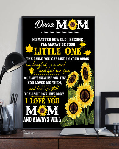 Letter For Dear Mom I Love You Sunflower Mother's Day Poster 16x24