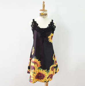 Autumn Sunflowers Patchwork Sleeveless Black Tank Top For Women