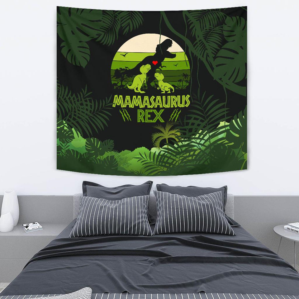 Mama Saurus Mother's Day Dinosaur Tapestry - Wonder Hippie Official