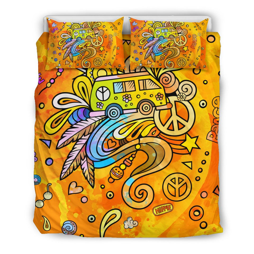 Cute Hippie Bedding Set Bedsheet And Cillow Cover - Wonder Hippie Official