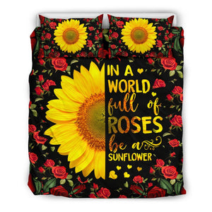 In A World Full Of Roses Be A Sunflower Hippie Bedding Set With Pillow Cover - Wonder Hippie Official