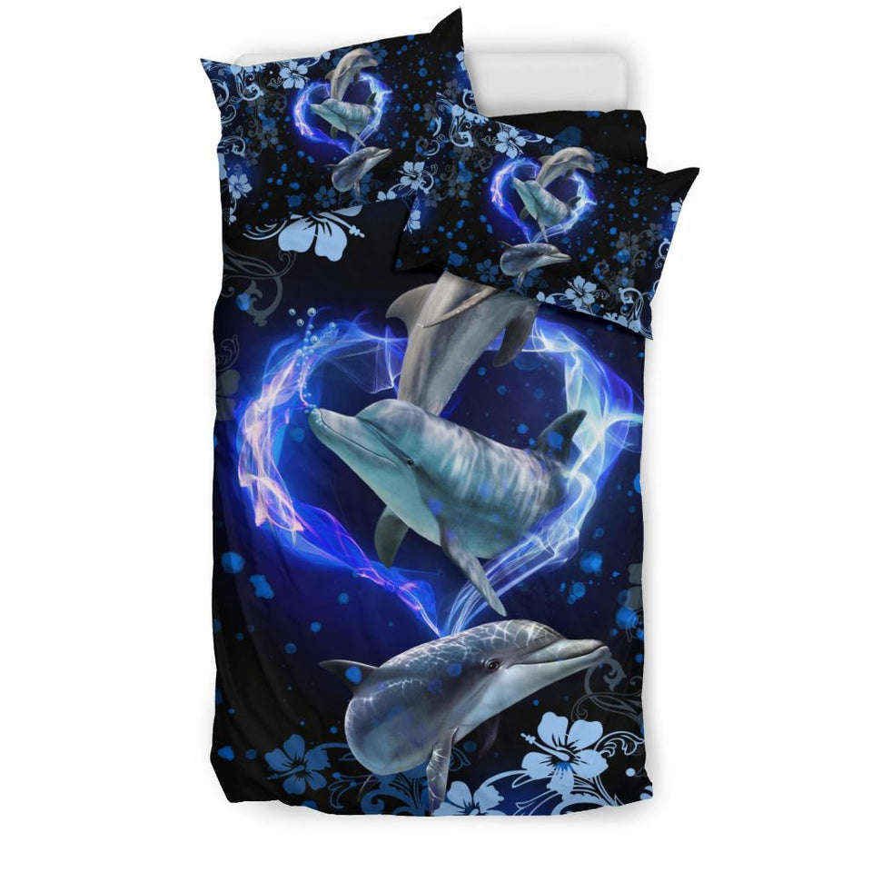 Amazing Dolphin Flower Bedding Set - Wonder Hippie Official