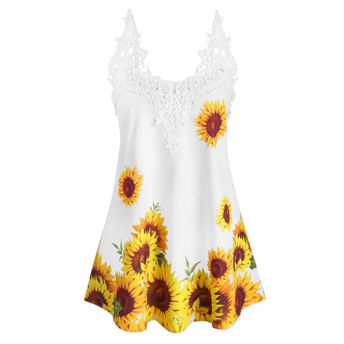 Summer Sunflowers Patchwork Sleeveless Tank Top For Women