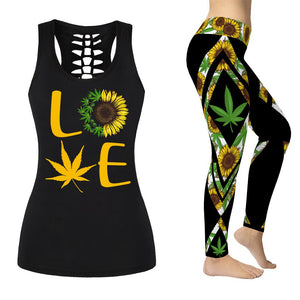 Cannabis Sunflower Tank Top or Leggings Outfit