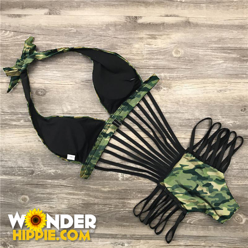 Camouflage One Piece Swimsuit Bathing Bikini