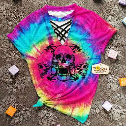 Skull Skeleton Tie Dye Full Print Choker Shirt For Women