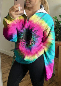 Tie Dye Sunflower Long Sleeve Quarter Zip Up Sweatshirts Workout Clothes For Women