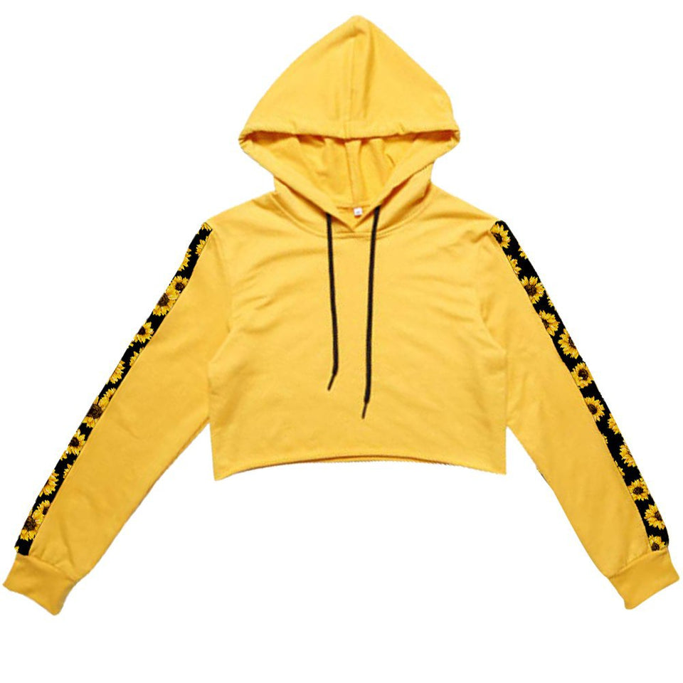 Combo Yellow Sunflowers Cropped Hoodies And Pants Sporty Outfits For Women