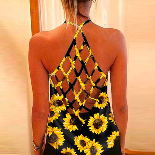 Summer Sleeveless Sexy Backless Hollow Out Sunflowers Tank Top For Women