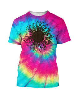 Sunflower Tie-Dye 3D Full Print Tshirt