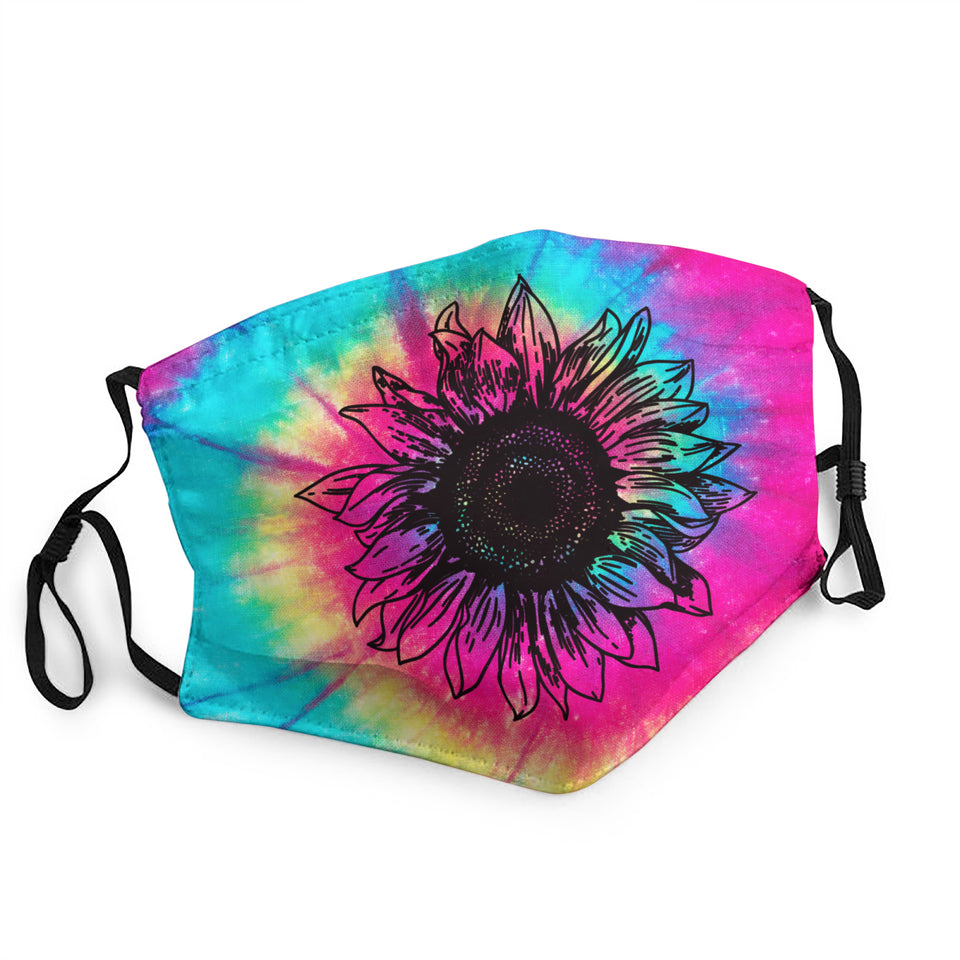 Tie Dye Sunflower Hippie Adult dust masks with Protective PM2.5 Filter & inner pocket