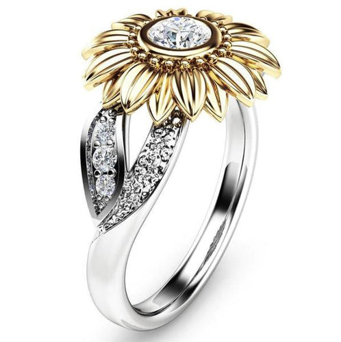 Premium Version - Exquisite Crystal Sunflower Ring - Wonder Hippie Official