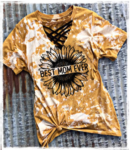 Best Mom Ever Sunflower Smeary Yellow Tie Dye T Shirt For Women - Wonder Hippie Official