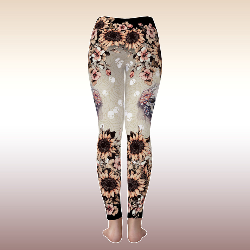 Cute Pink Rose Skull Tattoo Gothic Yoga Sporty Leggings Pant For Women
