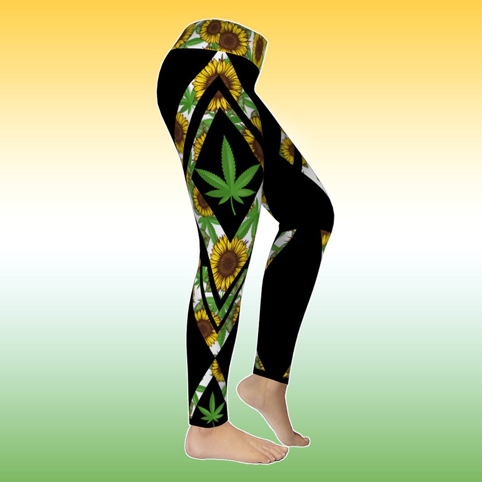 Cannabis Sunflower Tank Top & Leggings Outfit - Wonder Hippie Official