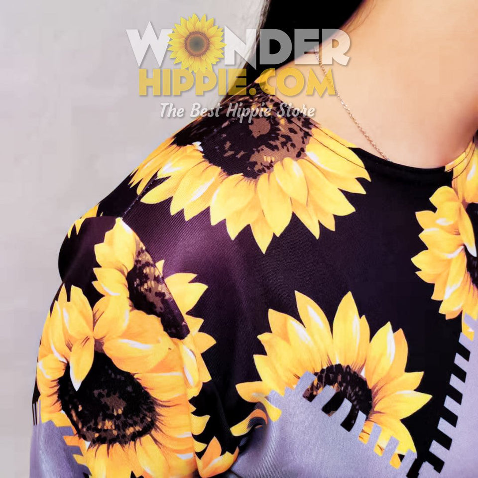 Sunflower Print Dress - Wonder Hippie Official