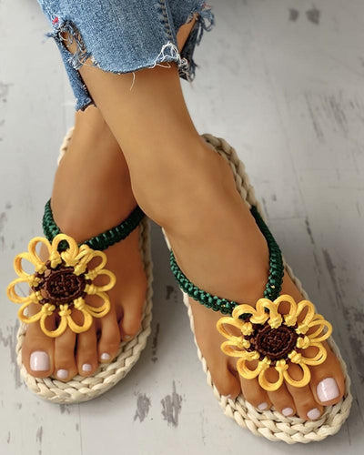 High Quality Hand Made Corn Husk Straw Sunflower Sandals Flip Flop For Women - Wonder Hippie Official