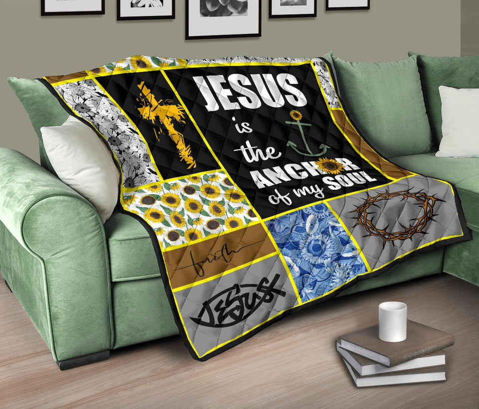 Jesus is the anchor of my soul sunflower quilt for bedding - Wonder Hippie Official