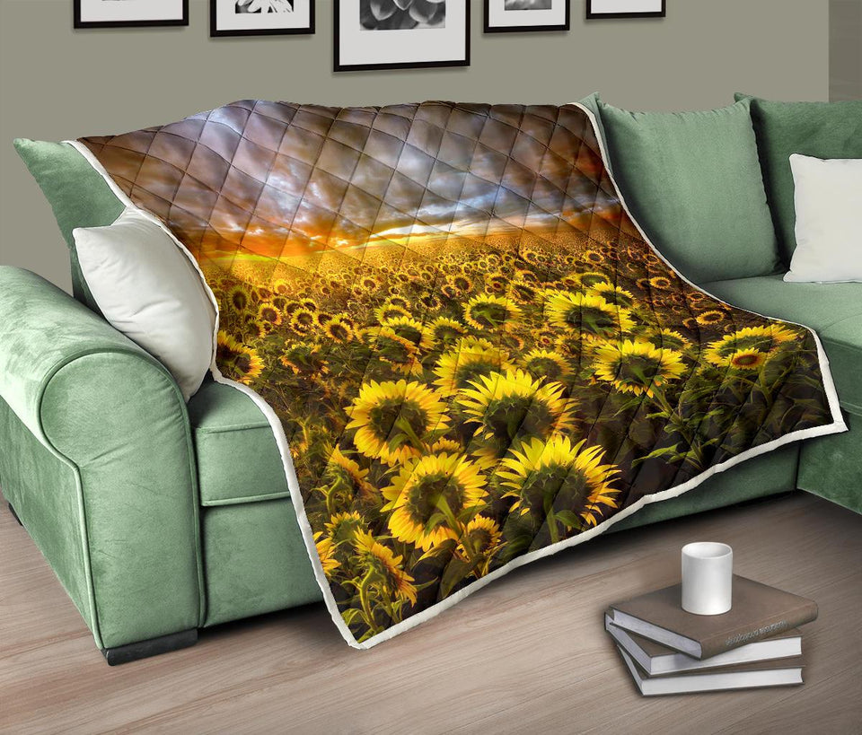 Sunflower Artwork Quilt Blanket - 3 - Wonder Hippie Official