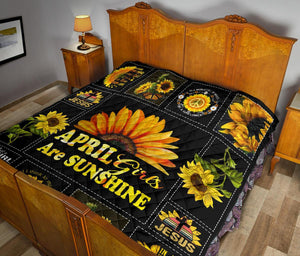Amazing Sunshine Sunflower April Girl Quilt for bedding - Wonder Hippie Official
