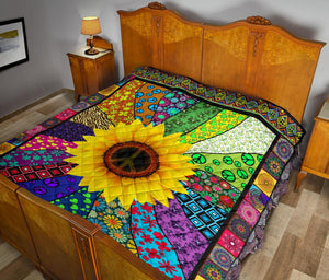 BEAUTIFUL SUNFLOWER HIPPIE PREMIUM QUILT - Wonder Hippie Official