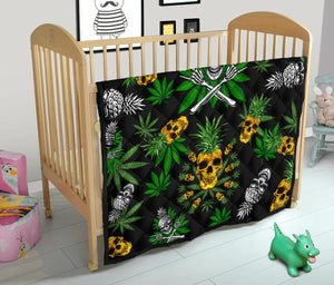 Pineapple Cannabis Skull Skeleton Premium Quilt - Wonder Hippie Official