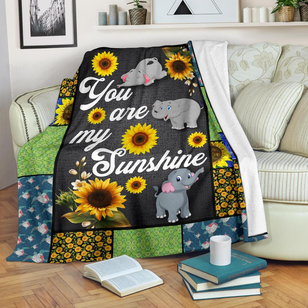 You Are My Sunshine Sunflower Elephant Premium Blanket - Wonder Hippie Official
