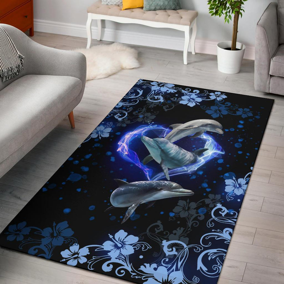 Amazing Dophin Flower Area Rug - Wonder Hippie Official