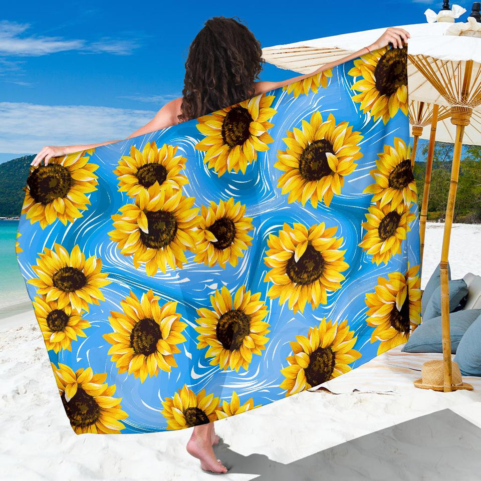 Sunflower blue background Bikini Cover Travel Swim Sarong for women - Wonder Hippie Official