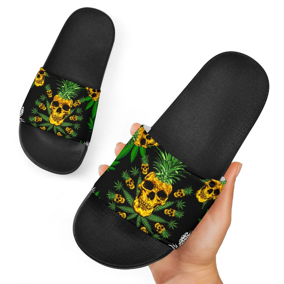 Pineapple Cannabis Skull Skeleton Slide Sandal - Wonder Hippie Official