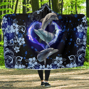 Amazing Dolphin Flower Hooded Blanket - Wonder Hippie Official