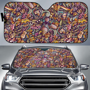 Hippie Pattern Car Auto Sun Shades - Wonder Hippie Official