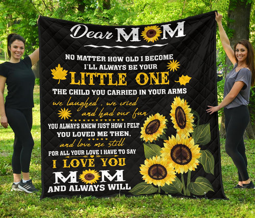Dear mom sunflower quilt for mother gift premium quilt - Wonder Hippie Official