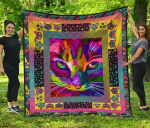Colorful Cat Artwork Premium Quilt - Wonder Hippie Official