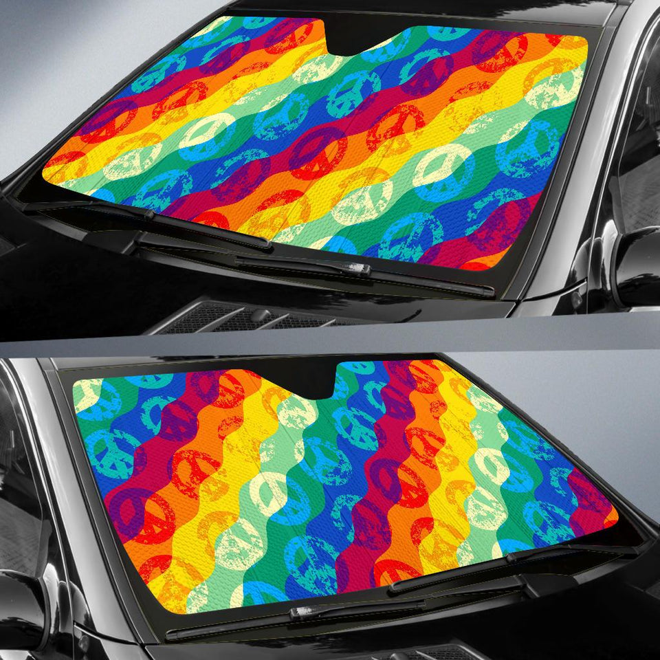 Peace Sign Pattern Car Auto Sun Shades - Wonder Hippie Official