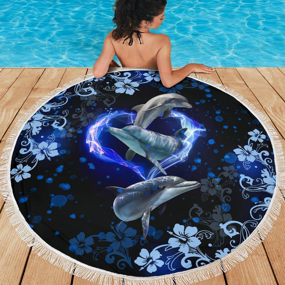 Amazing Dophin Flower Beach Blanket - Wonder Hippie Official