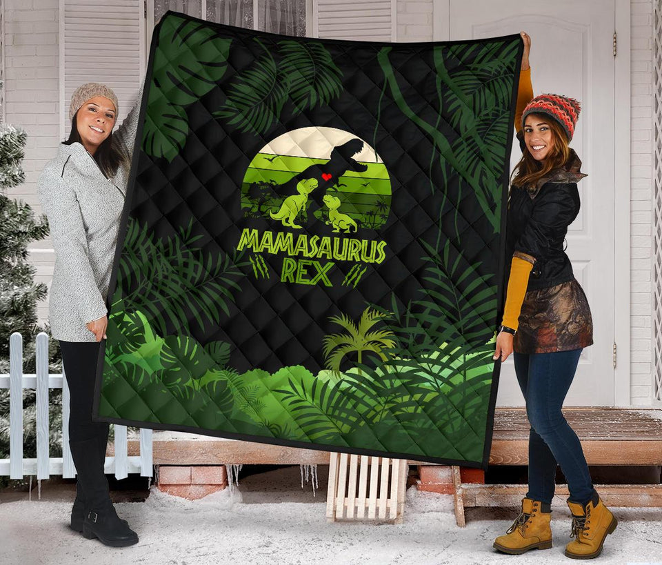 Mama Saurus Mother's Day Dinosaur Premium Quilt - Wonder Hippie Official